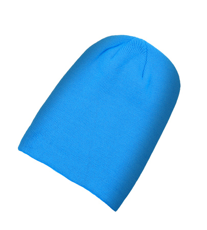 knitten: Blue wool hat isolated on white background
