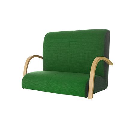 green sofa: Green sofa on white background Stock Photo
