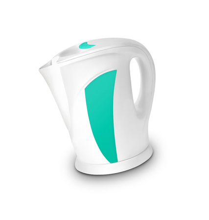 electric kettle: Steel electric kettle isolated Stock Photo