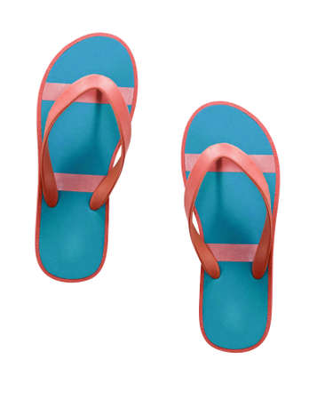 to flop: red and blue flip flop sandals isolated
