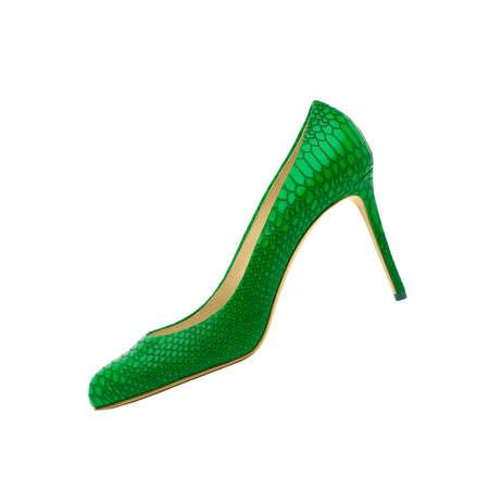 opentoe: Green Female shoes on white background Stock Photo