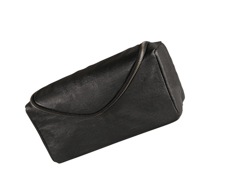 vanity bag: Mans black leather accessory bag or pouch isolated on white
