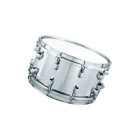 instrumentos musicales: tambor de plata aislado en blanco