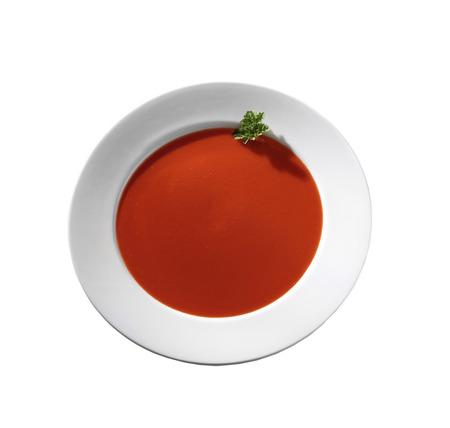 tomate: Soupe aux tomates isol� sur un fond blanc Banque d'images