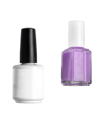 cosmetic lacquer: Lacquer bottle with Nail Polish isolated on white background