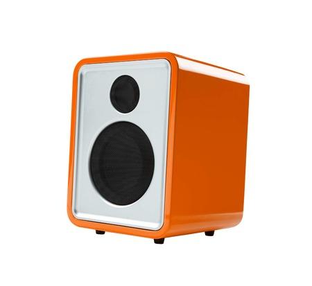 receiver: orange Radio receiver isolated Stock Photo