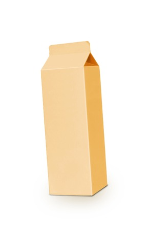 liter: Yellow milk box per liter isolated on white Stock Photo
