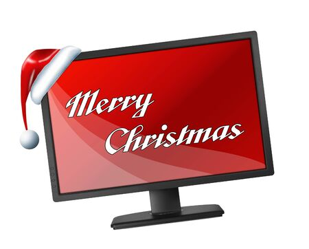 Monitor with red screen and Merry Christmas text