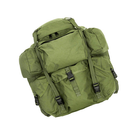 patched: Thirty year old backpack. Patched and thrashed Stock Photo