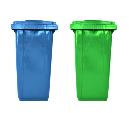 litterbin: plastic garbage bins isolated Stock Photo
