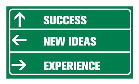 new ideas: Success ,new ideas, experience or road sign Stock Photo
