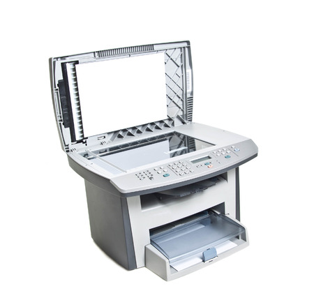 xerox: Printer with paper isolated on white bacground