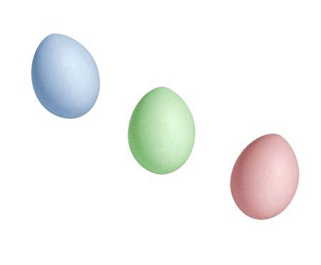 Colored eggs on a white background Foto de archivo