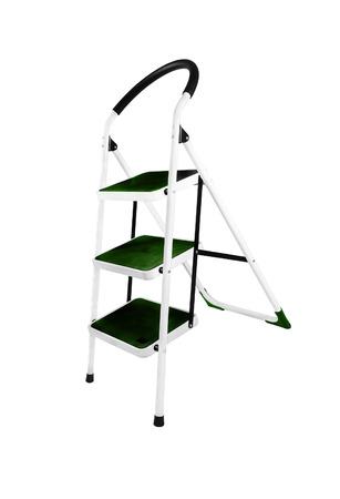 the footstool: Aluminum step ladder isolated