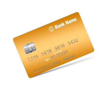 bankcard: Golden credit card on a white background Stock Photo