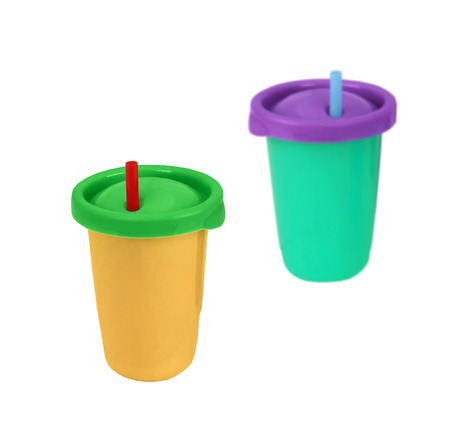 throwaway: Two fast food paper cups with straws