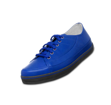 shoestrings: blue Sneakers Stock Photo