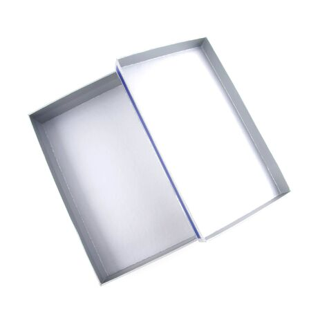 retailing: Open box on white background. Stock Photo