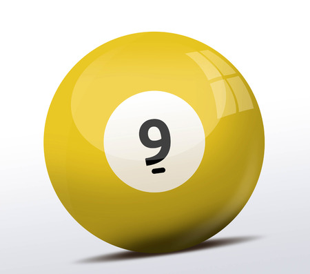 billiard ball: Number nine billiard ball Stock Photo
