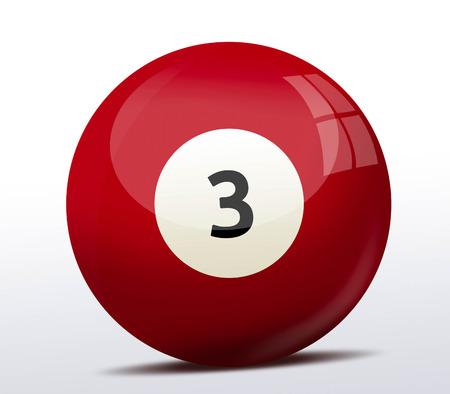 billiard ball: Number three billiard ball Stock Photo