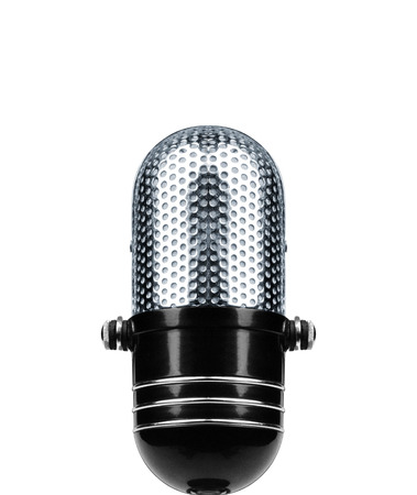 shure: Vintage Microphone Isolated Over White Background Stock Photo