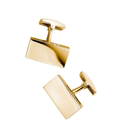 cuff link: pair of stainless steel cufflinks on white