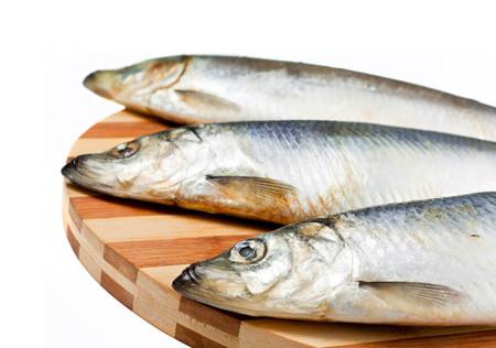 Fresh fishes on white background