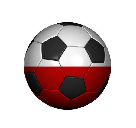 bandera de polonia: Football (soccer ball) covered with the Polish flag Foto de archivo