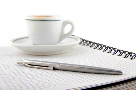 blank page, empty cup of coffe, pen
