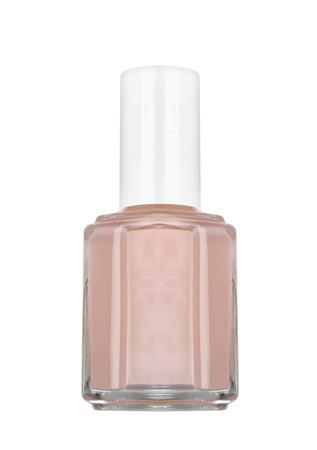 nail polish bottle: bottle of beige nail polish, white background Stock Photo