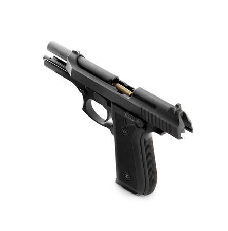 45 caliber: Handgun with loaded bullet Stock Photo