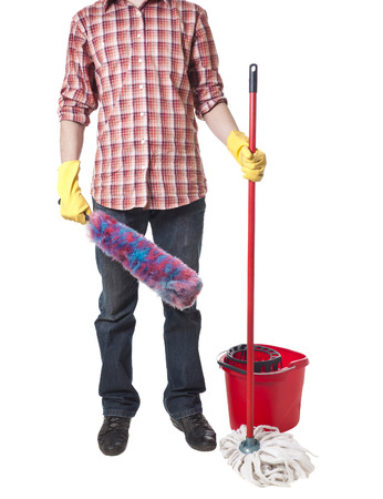 workwear: Young sweeping man workwear. Isolated Stock Photo