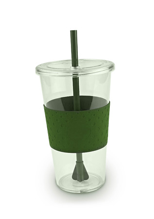 plactic: Green plactic cup Stock Photo