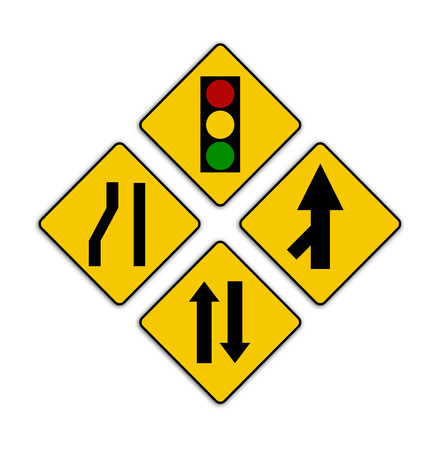 sharp: Set of variants Sharp traffic road sign isolated