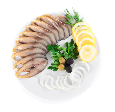 fryed: fish with vegetables,anion olives