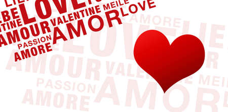 Words for valentines day on white with heart Stock Photo