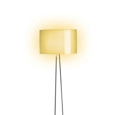 home deco: Tall Lamp with Orange shade Stock Photo