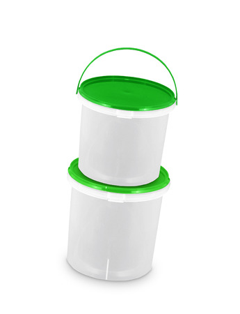 green paint in two buckets Stock Photo