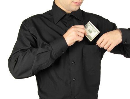 putting money in pocket: Businessman putting money in shirts pocket