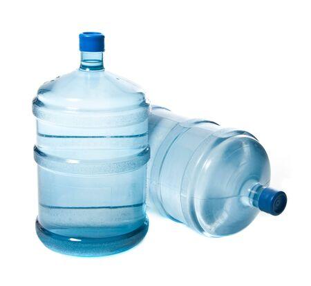 potable: two big plastic bottles for potable water Stock Photo