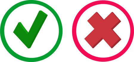 Correct and incorrect check box Illusztráció