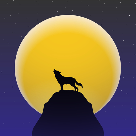 super dog: Wolf howling in front of Super moon