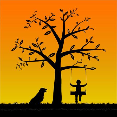 Silhouette Tree y El niño en el columpio y su perro