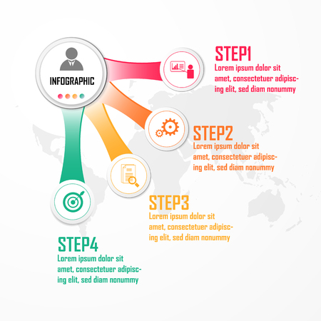 Elements for infographic vector. Design concept with 4 options, parts, steps or processes, Template for diagram, Chart, Presentation. Business presentation