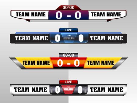 Scoreboard Digital Screen Graphic Template for Broadcasting of soccer, football or futsal. Ilustração