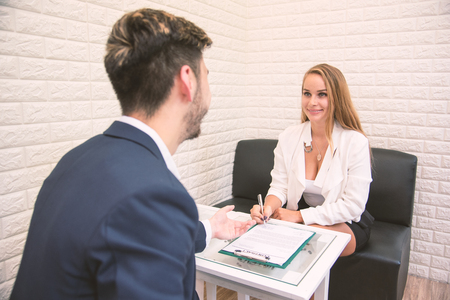 Business employer offering work to new employee extend agreement for signing to successful applicant, hiring new staff concept, assignment, job placement, terms of employment, vacancy and getting job