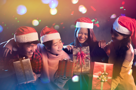 Christmas and New Year party celebration by Asian teen. Holiday and Happiness concept. Relax theme