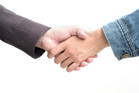 Hands shake of businessmen  on isolated white background.  Business and success concept, Front view Stock Photo
