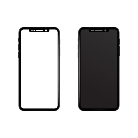 Black gray slim phone with White and black blank screen wallpaper. Realistic vector illustration mock up. New smartphone model. modern futuristic design. Technology and Communication concept.