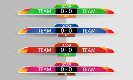 Live scorebord Digitaal scherm grafische sjabloon voor uitzending van voetbal, voetbal of zaalvoetbal, illustratie vector ontwerpsjabloon voor voetbal competitie wedstrijd. Overhemd of kledingkleurteam aan beide kanten.
